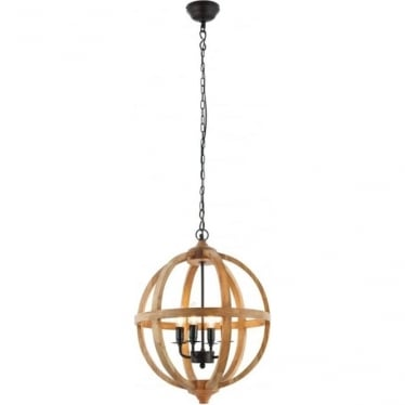 Toba 4 light pendant - Mango wood & dark bronze paint