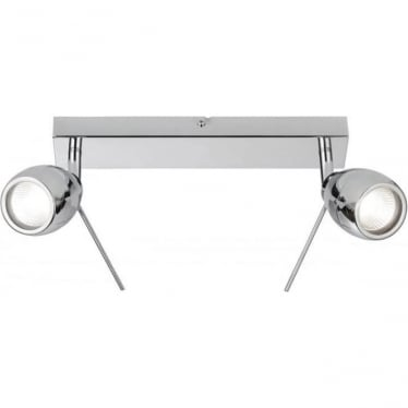 Travis 2 light spot ceiling fitting - Chrome plate & clear glass