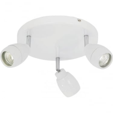 Travis 3 light round flush ceiling fitting - Matt white & clear glass