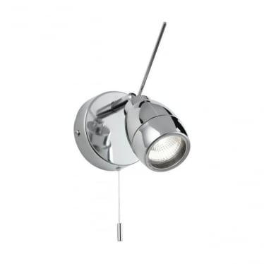 Travis single light spot wall fitting - Chrome plate & clear glass