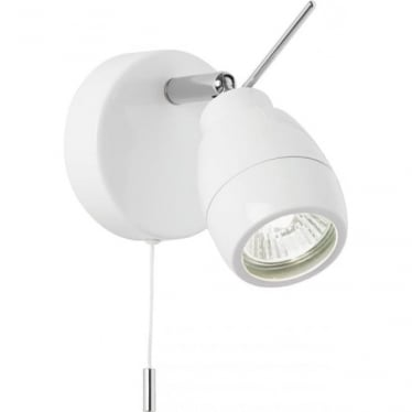 Travis single light spot wall fitting - Matt white & clear glass