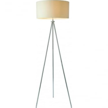 Tri Ivory floor lamp - Chrome plate & ivory linen mix