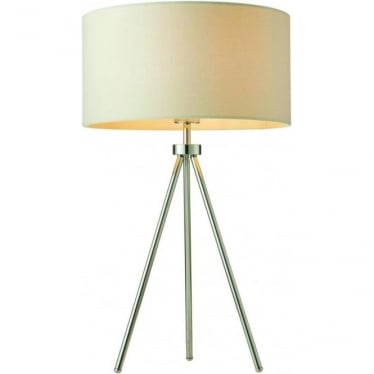 Tri Ivory table lamp - Chrome plate & ivory linen mix