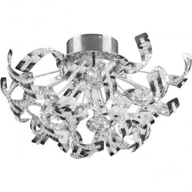 Twist 12 light flush fitting - Chrome plate & clear crystal glass