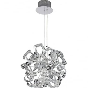 Twist 9 light pendant - chrome plate & clear crystal glass