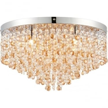 Vanessa 5 light flush fitting - Clear & amber tinted crystal glass