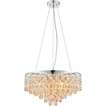 Vanessa 5 light pendant - Clear & amber tinted crystal glass