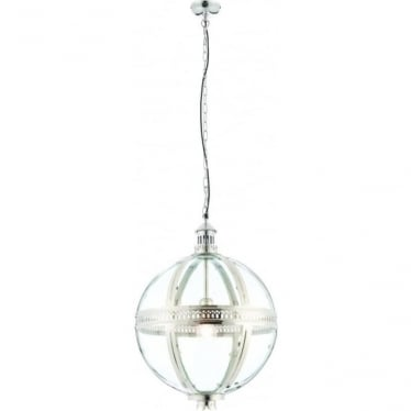 Vienna pendant 410mm - bright nickel & clear glass