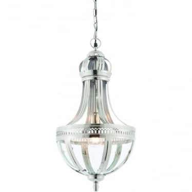 Vienna single light pendant - bright nickel & clear glass