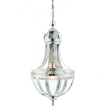 Vienna single light pendant - bright nickel & clear glass