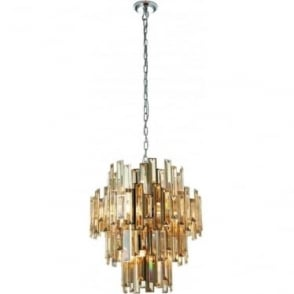 Viviana 12 light pendant - Chrome plate & champagne crystal