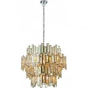 Viviana 15 light pendant - Chrome plate & champagne crystal