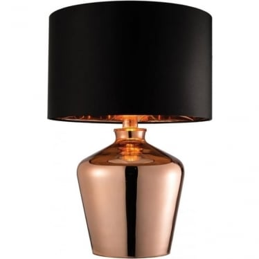 Waldorf table lamp - Copper glass & black faux silk