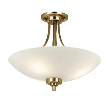 Welles 3 light semi flush fitting - White painted lined glass & antique brass