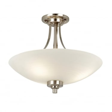 Welles 3 light semi flush fitting - White painted lined glass & satin chrome