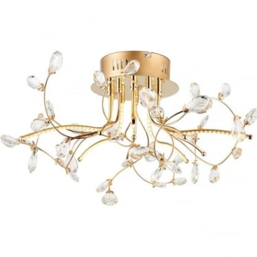 Willa 5 light semi flush fitting - Gold