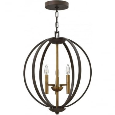 Euclid 3 Light Pendant Chandelier Spanish Bronze