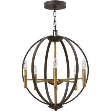 Euclid 6 Light Pendant Chandelier Spanish Bronze