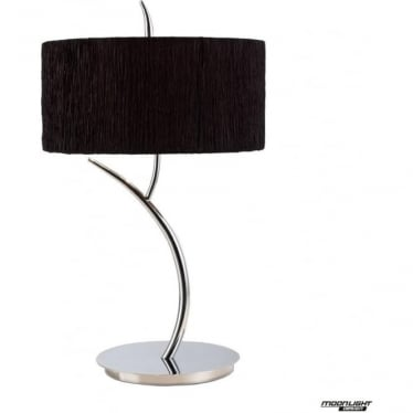 Eve 2 Light Large Table Lamp in Polished Chrome with Black Round Shade