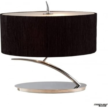 Eve 2 Light Small Table Lamp in Polished Chrome with Black Oval Shade