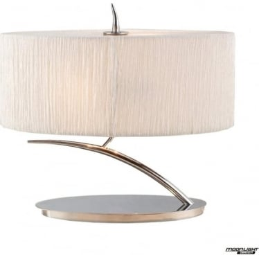 Eve 2 Light Small Table Lamp in Polished Chrome with White Oval Shade