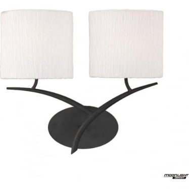 Eve 2 Light Switched Wall Fitting in Anthracite with White Oval Shades