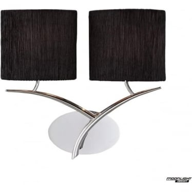 Eve 2 Light Switched Wall Fitting in Polished Chrome with Black Oval Shades
