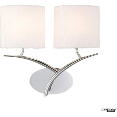 Eve 2 Light Switched Wall Fitting in Polished Chrome with White Oval Shades