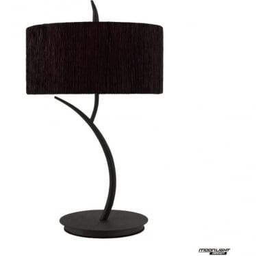 Eve 2 Light Table Lamp in Anthracite with Black Round Shade