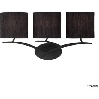 Eve 3 Light Switched Wall Fitting in Anthracite with Black Oval Shades