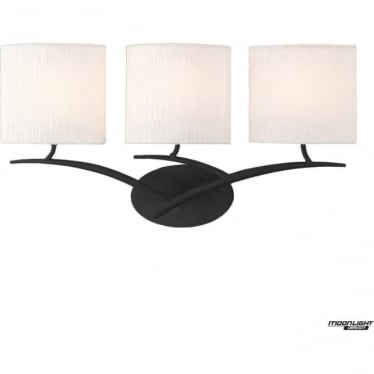 Eve 3 Light Switched Wall Fitting in Anthracite with White Oval Shades