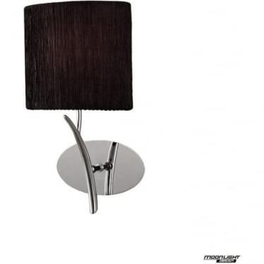Eve Single Light Switched Wall Fitting in Polished Chrome with Black Oval Shade