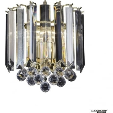 Fargo 2 Light wall fitting - Brass & clear acrylic