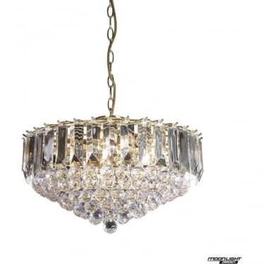 Fargo 6 light pendant - Brass & clear acrylic