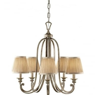 Abbey 5 Light Chandelier Silver Sand