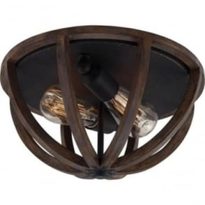 Allier Flush Mount Fitting Weathered Oak Wood/Antique Forged Iron