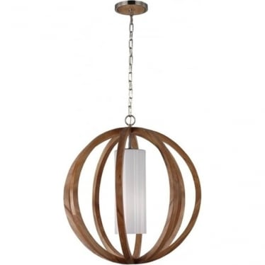 Allier Large Pendant Light Wood/Brushed Steel