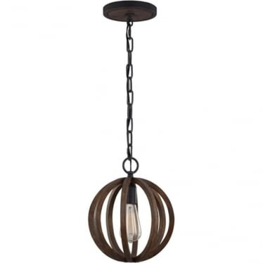 Allier Mini Pendant Weathered Oak Wood/Antique Forged Iron