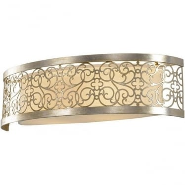 Arabesque Vanity Wall Sconce Silver Leaf Patina