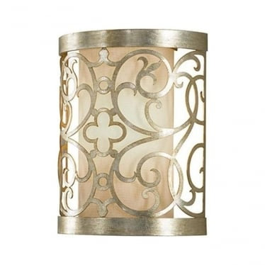 Arabesque Wall Sconce Silver Leaf Patina