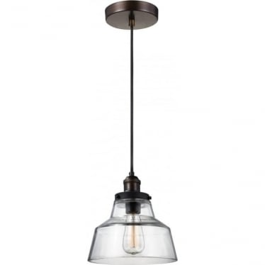 Baskin Single Light Pendant Painted Aged Brass/Dark Weathered Zinc