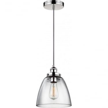 Baskin Single Light Pendant Polished Nickel