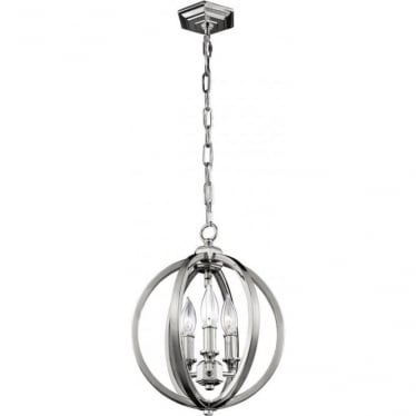Corinne 3 Light Small Pendant Polished Nickel