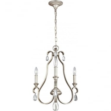 DeWitt 3 Light Chandelier Sunrise Silver