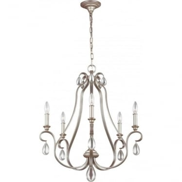 DeWitt 5 Light Chandelier Sunrise Silver