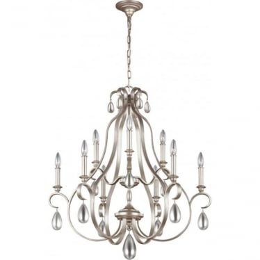 DeWitt 9 Light Chandelier Sunrise Silver