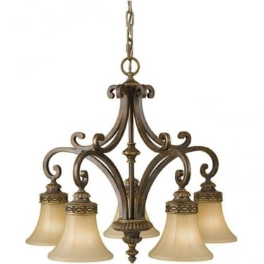 Drawing Room Down 5 Light Chandelier Walnut