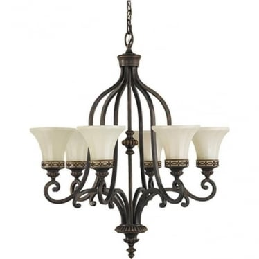 Drawing Room Up 6 Light Chandelier Walnut