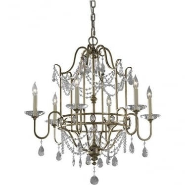 Gianna 6 Light Chandelier Gilded Silver