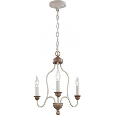 Hartsville 3 Light Chandelier Chalk Washed/Beachwood